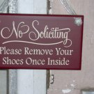 No Soliciting Please Remove Your Shoes Once Inside Wood Vinyl Sign Retro Design Take Off Shoes