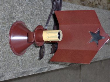 Primitive Star Mirror Reflector Lamp Early American Lighting Country Rustic Red Night Stand