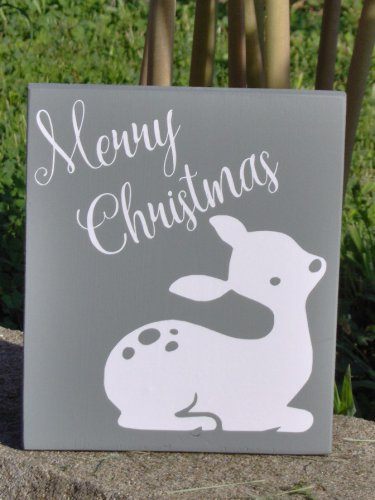 Merry Christmas Wood Block Vinyl Sign Fawn Deer Silhouette Winter Ornament Home Shelf Sitter