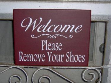 Sign Welcome Please Remove Shoes Wood Vinyl Primitive Country Red Door Hanger
