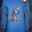 Ed Hardy PANTHER & ROSES BLUE L/S Tee Shirt, MEDIUM, NWT, #A8YMAUZS
