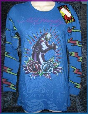 Ed Hardy PANTHER & ROSES BLUE L/S Tee Shirt, MEDIUM, NWT, #A8YMAUZS