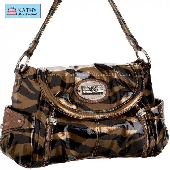 KATHY VAN ZEELAND H41606 Poseidon Flap Hobo Bronze Zebra 17361 (Animal Print) Handbag
