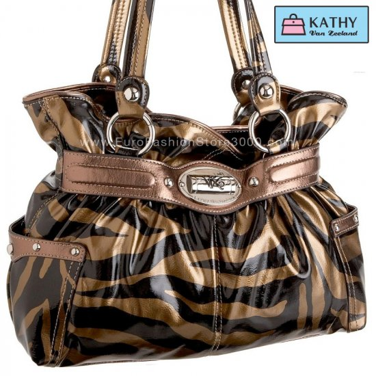 KATHY VAN ZEELAND H41606 Poseidon Belt Shopper Bronze Zebra 17806 (Animal Print) Handbag
