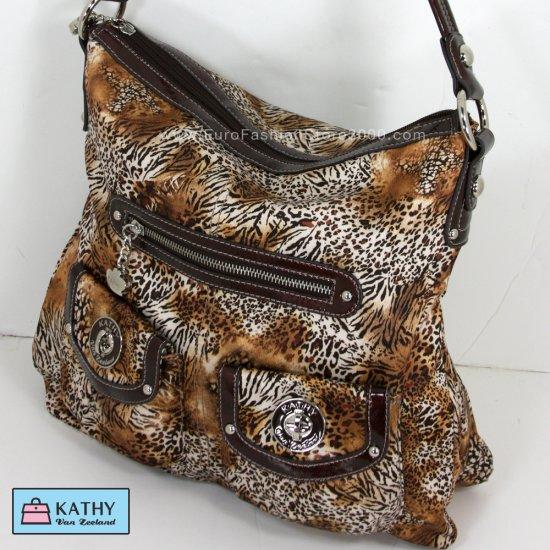 KATHY VAN ZEELAND H36222 Turn It Up N/S Hobo Multi Safari (Zebra, Cheetah...) Handbag