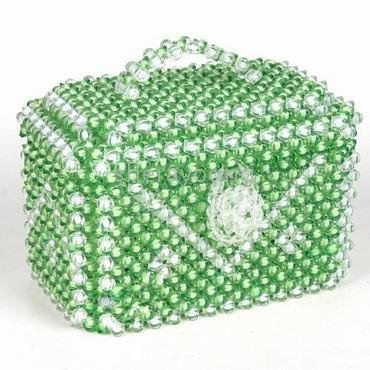 green beaded jewelry case**Free ship**