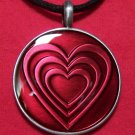 Pewter Fuchsia Heart Pattern Round Pendant Necklace