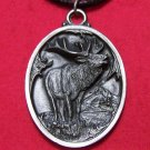 Dark Pewter American Full Body Elk with Mountains Pendant