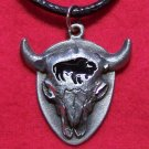 Pewter Steer Skull Black Buffalo Enamel Pendant Necklace