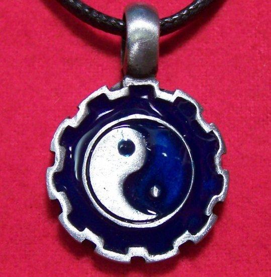 Pewter Silver Tone Yin Yang w/ Blue Enamel Pendant Necklace