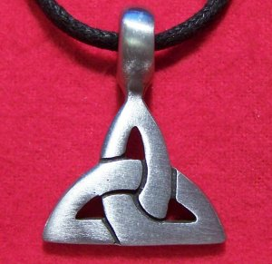 Silver Tone Pewter Celtic Knot Triangle Pendant Necklace