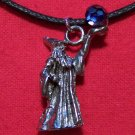 Pewter Wizard with Magic Crystal Ball Pendant Necklace