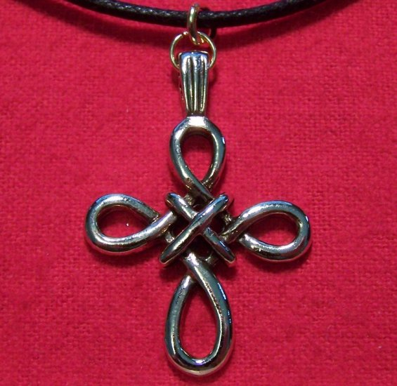 Gold Tone Pewter Woven Celtic Cross Pendant Necklace