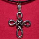 Gold Tone Pewter Woven Celtic Cross Pendant Necklace