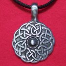 Antiqued Pewter Celtic Knot Circle Pendant Necklace