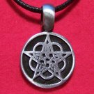 Pewter Celtic Gothic Star Circle Pendant Necklace