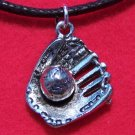 Pewter Baseball Glove & Baseball Pendant Necklace U.S.A.