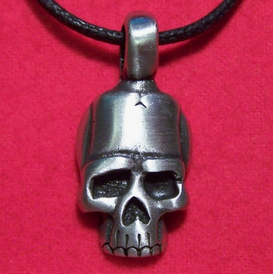 Silver Tone Pewter Gothic Human Skull Tribal Pendant