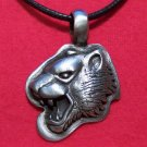 Antiqued Pewter Panther Profile Head Pendant Necklace