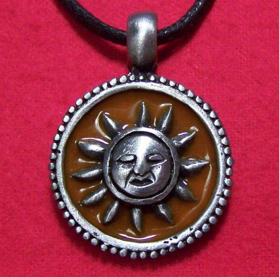 Pewter Sun Face Dark Yellow Enamel Pendant Necklace