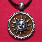 Pewter Sun Face Dark Yellow Enamel Pendant Necklace