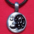 Silver Tone Pewter Happy Singing Moon with Stars Pendant
