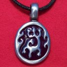Pewter Geko Design with Dark Red Enamel Pendant