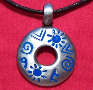 Silver Tone Pewter Blue Tribal Symbols Pendant Necklace