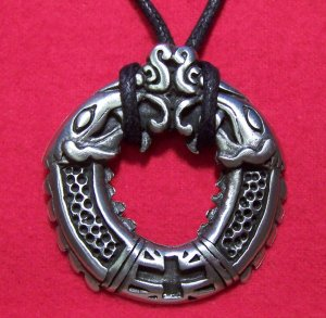 Antiqued Pewter Double Headed Dragon Cross Pendant