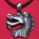 Antiqued Pewter Asian Bearded Dragon Head Pendant