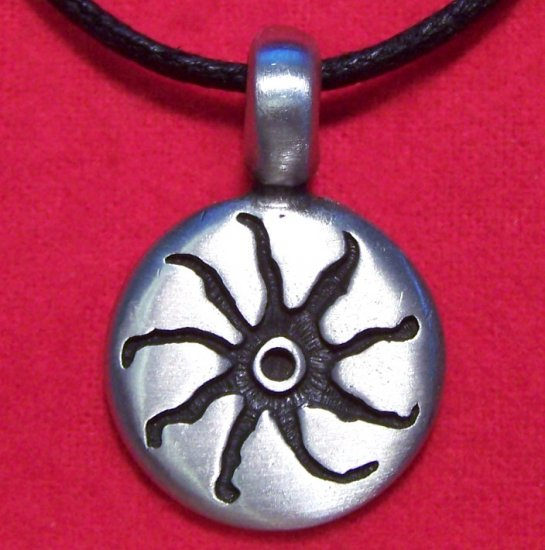 Silver Tone Pewter Tribal Sun Coin Pendant Necklace