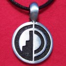 Silver Tone Pewter Hogan Round Tribal Pendant Necklace