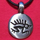 Silver Tone Pewter Lizard Drawing Round Tribal Pendant