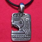 Pewter Egyptian Rectangle Lion Drawing Pendant Necklace