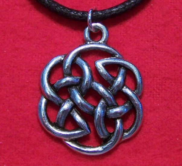 Antiqued Pewter Celtic Knot Design Round Pendant U.S.A.
