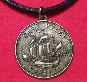 Antiqued Brass Pewter Ship & Head Pendant Necklace