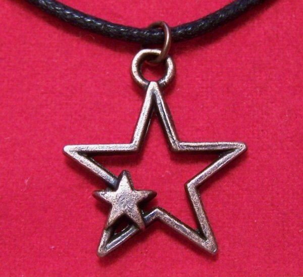 Antiqued Copper Pewter Open Star Pendant Necklace
