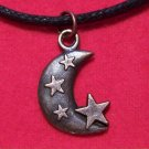 Antiqued Copper Pewter Crescent Moon Stars Pendant