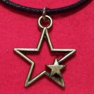 Antiqued Brass Pewter Open Star Pendant Necklace