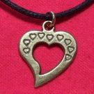 Antiqued Brass Pewter Open Heart Pendant Necklace