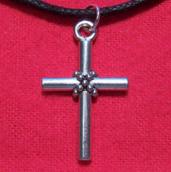 Silver Tone Pewter Small Banded Roped Cross Pendant U.S.A.