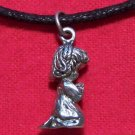 Antiqued Pewter Little Girl Praying Pendant Necklace U.S.A.