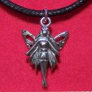 Antiqued Pewter Woman Fairy with Wings Pendant Necklace