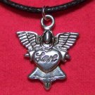 Antiqued Pewter Angel with LOVE Pendant Necklace U.S.A.