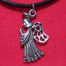 Pewter Praying Angel with Halo & Wings Pendant Necklace