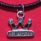 Antiqued Pewter Crown PRINCESS Pendant Necklace U.S.A.