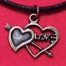 Antiqued Copper Pewter Cupid Arrow Love Hearts Pendant