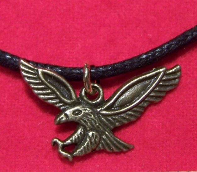 Antiqued Brass Pewter Flying Eagle Pendant Necklace