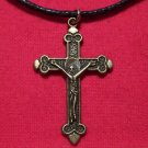 Antiqued Brass Pewter Crucifix Faith Pendant Necklace