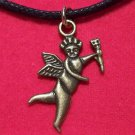 Antiqued Brass Pewter Angel Cherub Pendant Necklace